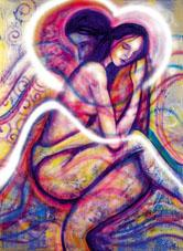Abstract image of soulmate lovers embracing