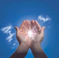 Hands holding a burst of sunlight