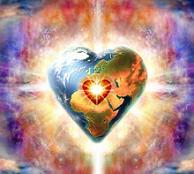 Heart shaped earth and divine burst of light