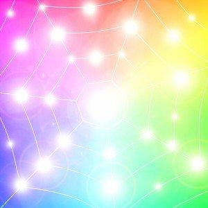 Rainbow art web pattern sparks of bright light